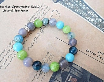Agate Jade Blue Green Boho Yoga Meditation Beaded Gemstone Bracelet Healing Crystal Stone Zen Jewelry Women Fashion Bohemian Gray Chakra