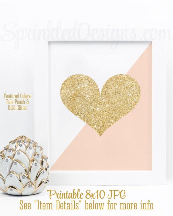 Gold Glitter Heart Print - Peach & Gold Nursery Decorations, Little ...