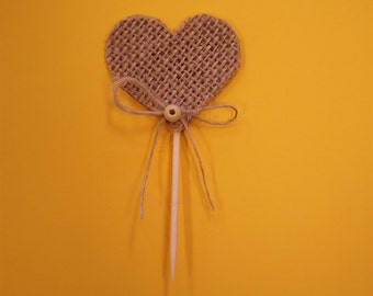 Burlap Hearts Cupcake Toppers-Set of 12.
