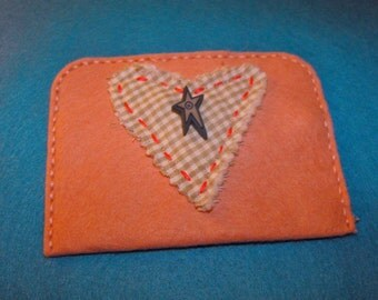 100% Wool Felt Gift Card Holder/Cash Gift Holder/Change Purse Handstitched Cotton Floss Hand Embroidered All Handcrafted Peach Gingham