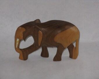 Vintage hand carved wood elephant figurine made in Kenya