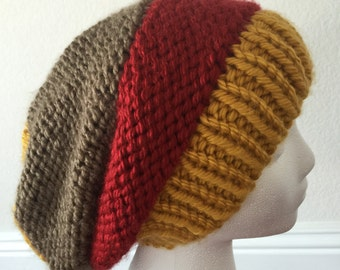 Tri-color Slouch Beanie Knit Hat Women