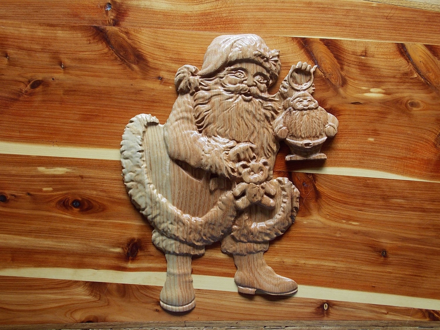 Santa claus wooden sign wall decor wood