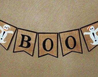 BOO! Halloween Burlap Banner, Halloween Bunting, Fall Burlap Decoration, Halloween Banner, Rustic Fall Decoration