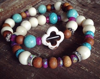 Boho Chic Stretch Beaded Bracelet, Yoga Stretch Beaded Bracelet, Boho Beaded Stretch Bracelet