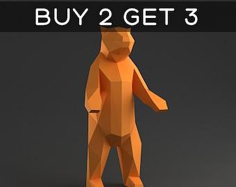 Standing Bear Trophy - 3D papercraft model. Downloadable DIY template