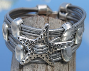 wide silver leather, multistrand Bracelet with  starfish