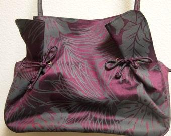100% Silk Handbag Purple Gray Leaf Print