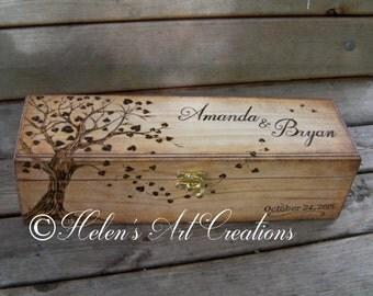 Wedding Wine Box, Personalized Wine Box, Custom Box, Time Capsule, Heirloom, Engraved Tree, Anniversary, Birthday, Wedding Keepsake Box