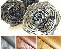 Shiny Metallic Gold Copper Silver Rose Gold Paper Roses Wedding Christmas Table Decor Flower Wall Backdrop Weding Aisle Runner Walkway