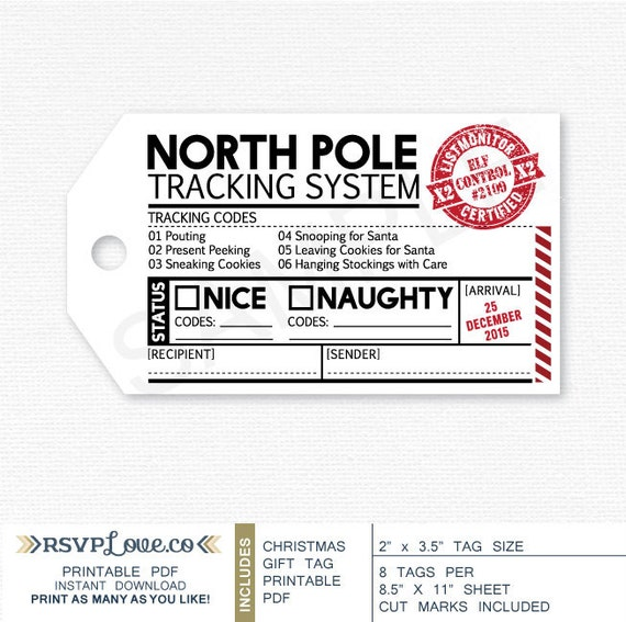 Printable Gift Tag North Pole Tracking System 2 X 3.5 By
