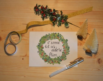 O Come Let Us Adore Him Christmas wreath Greeting Cards