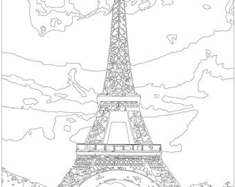adult coloring page color therapy digital download eiffel tower paris france - France Eiffel Tower Coloring Page