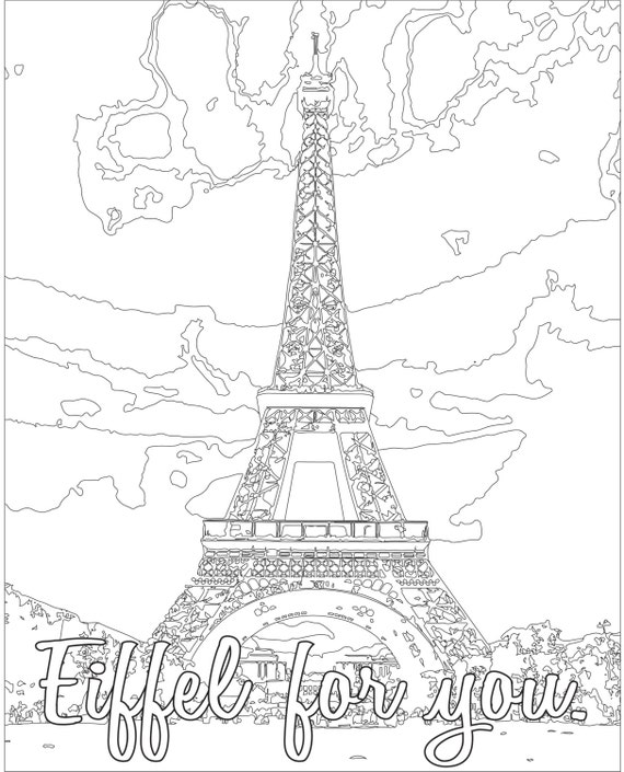 adult coloring page color therapy digital download eiffel tower paris france architecture make your own unique valentine - Paris Eiffel Tower Coloring Pages