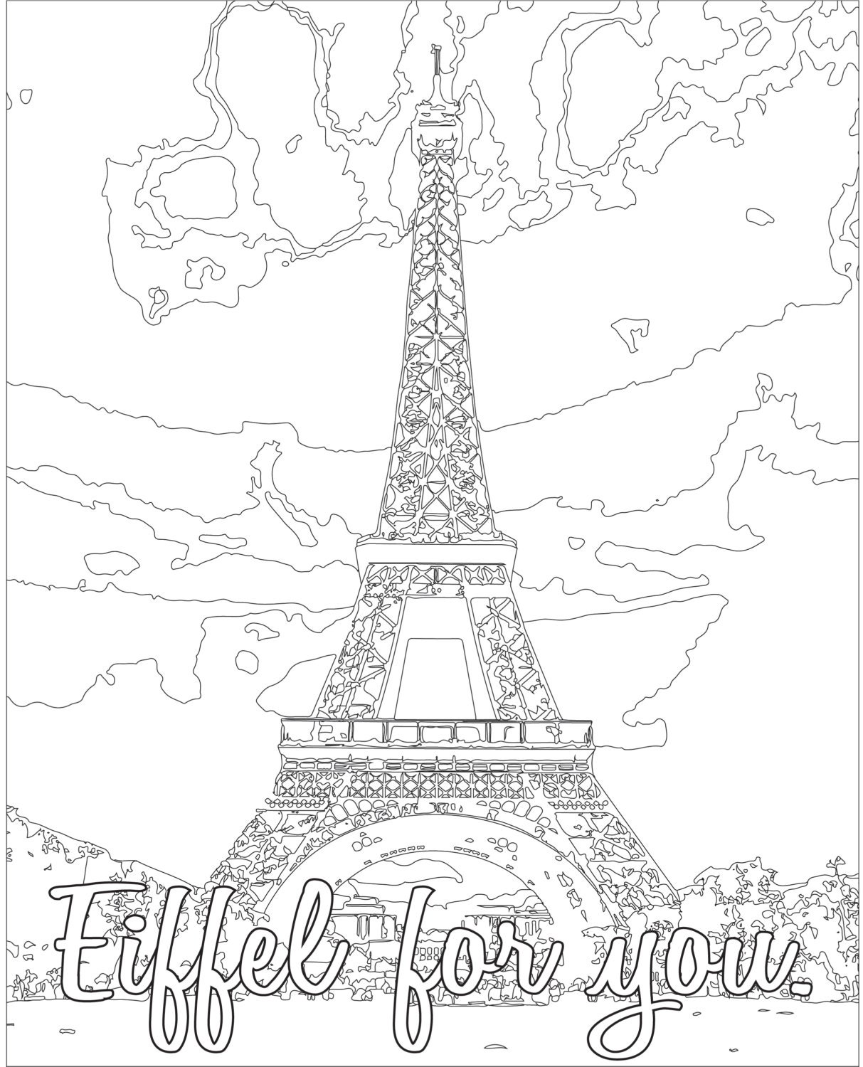 coloring page color therapy digital download eiffel