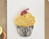 Quilling Paper Yellow and Gray Cupcake Home Decor, Modern Quilling Art, Gifts for Bakers, Dessert Lovers Gifts, Dessert Decoration