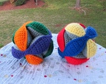 Crochet Puzzle Balls in Primary and Secondary Colors, Child Learning Toy, Montessori Toy, Made to Order