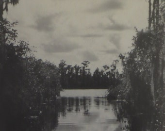 boat trip reflection, vintage photograph
