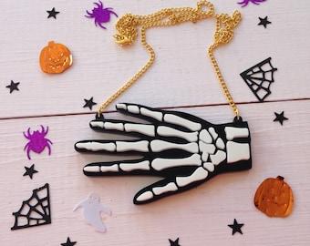 Halloween Skeleton Hand Acrylic Necklace
