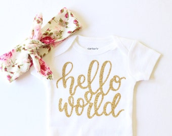 Baby girl clothes, Hello World Gold Baby Bodysuit, Newborn Onesie, Coming home outfit, Hello world newborn outfit, hospital outfit