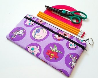 FINALPRICE CLEARANCE Double Zipper Large Pencil Case / Pokemon Girls