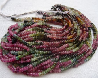 3 to 3.5 mm Gorgeous Multi Tourmaline Faceted Rondelle Full 13 inch Strand