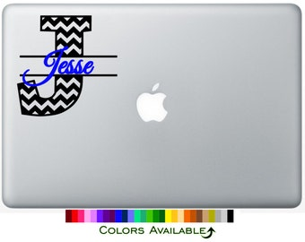 Chevron Initial with Name Laptop Decal