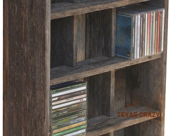Music CD Cubby - Choose from 31 custom sizes - Storage to fit standard music cd cases - Reclaimed Wood