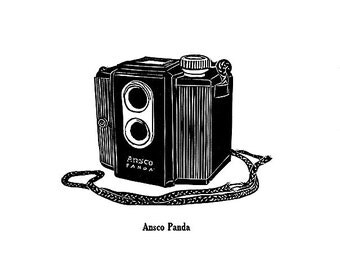 Ansco Panda - Letterpress Linocut Print