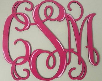 Monogram Initials, Letter Monogram Door or Wall Hanger, Wooden Monogram Vine, Shabby Chic Monogram Initials