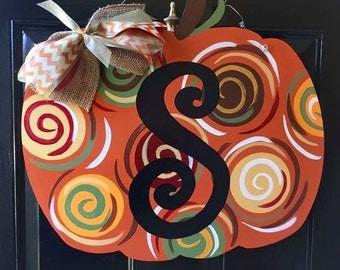 Pumpkin Door Hanger, Fall Door Hanger, Custom Door Hanger, Fall Home Decor
