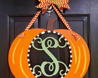 Pumpkin Door Hanger, Pumpkin Initial Door Hanger, Fall Door Hanger, Custom Door Hanger, Fall Home Decor, Initial Door Hanger