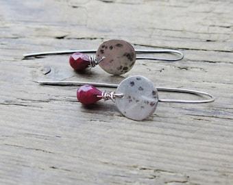 Ruby earrings. Red ruby earrings. July birthstone. Handcrafted oxidized sterling silver earrings. Artisan earrings.