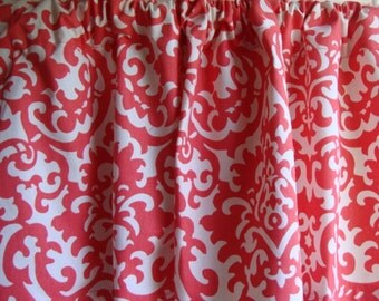 "Coral and White Damask Valance Window Treatment Curtain Cotton Duck 43""WX14""L"