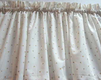 Winter White with Gold Triangles Valance Curtain Window Treatment For Any Room