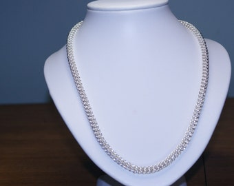 FOXTAIL, solid sterling silver 925 HANDMADE chain necklace: