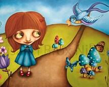 "Giclée signed print ""Wonderland"" Susann Brox Nilsen art oilpainting girl bird flowers lowbrow big eyes dreamland mushroom butterfly"