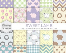 Printable Lamb Paper - Digital Lamb Backgrounds - Cute Sheep Pattern Graphics - Animal Stock Photos for Kids, Children, Baby Girl or Boy