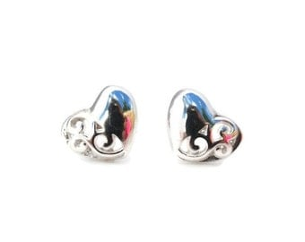 Heart Sterling Silver Stud Earrings 8mm - Sterling Silver Heart Post Earrings - Heart Studs - Child's Silver Heart Studs
