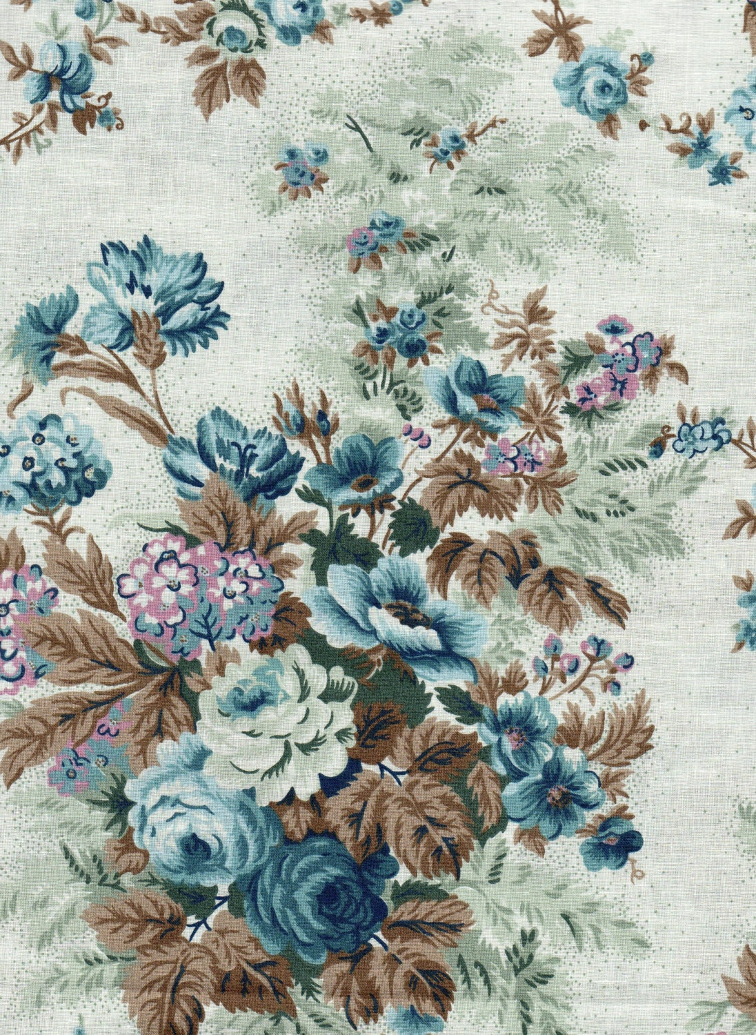 Vintage Floral Quilt Fabric Blue Flowers On Blue