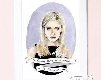 Buffy the Vampire Slayer watercolor portrait PRINT illustration Sarah Michelle Gellar Buffy Summers