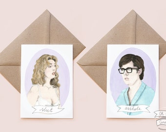 Brad and Janet RHPS watercolor illustration greeting Valentine's day card Rocky Horror