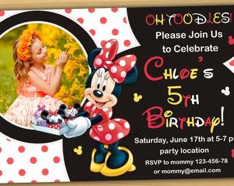 Minnie mouse Birthday Invitation, Minnie mouse Invitation, Minnie mouse chalkboard invitation- Digital file