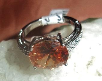 Morganite Ring, Cocktail Ring, Gemstone Ring, 925 Stamped Ring, Silver Ring, Amber Ring, Statement Ring, Size 7.5 Ring, Women's Ring