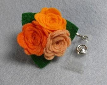 Orange Flower ID Badge Reel - Made-to-Order-Name Badge Holder -Upcycled-Recycled - Repurposed - ID Badge Holder - Retractable Badge Reel