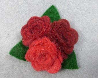 Red Flower Clip - Felt Flower Barrette - Felt Barrette - Felt Clip - Flower Hair Clip - Artificial Flower - Fake Flower - Floral