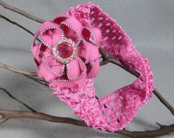 Pink Flower Headband - Zipper Flower -Upcycled -Recycled -Repurposed - Elastic Headband -Baby Headband -Womens Headband - Girls Headband