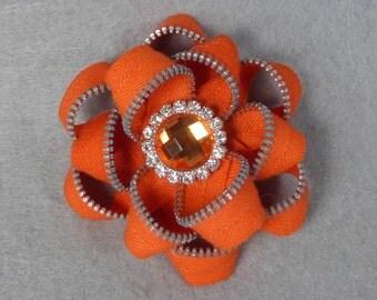 Zipper Flower Brooch - Orange Flower Pin, Upcycled, Recycled, Repurposed, Zipper Jewelry, Zipper Pin, Zipper Brooch, Zipper Art