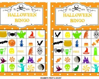 halloween bingo etsy - Free Printable Halloween Bingo Game Cards