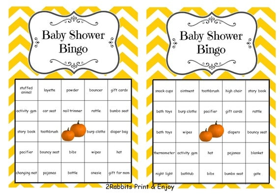 baby shower bingo printable cards prefilled with baby gift words